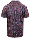 BEN SHERMAN Retro Peacock Floral Hawaiian Shirt