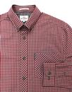 BEN SHERMAN Classic Mod Brushed Gingham Shirt WINE