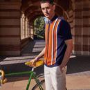 BEN SHERMAN Mod Stripe Panel Knit Button Up Polo