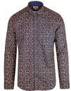 ben sherman 1960s mod micro floral shirt dark blue