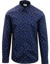 ben sherman peacock feather print mod shirt navy