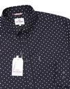 BEN SHERMAN 1960s Mod Classic Polka Dot Shirt NAVY