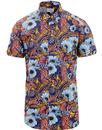 ben sherman psychedelic floral bright shirt navy