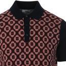 BEN SHERMAN Mod 60s Knitted Jacquard Birdseye Polo