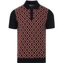 ben sherman mens mod 60s knitted jacquard birdseye front polo tshirt dark navy red