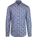 ben sherman mens mod regular fit linear paisley print long sleeve shirt white blue
