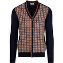 ben sherman mens pattern front classic button knitted cardigan navy orange