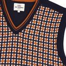 BEN SHERMAN Retro 1970s Dogtooth Knitted Tank Top