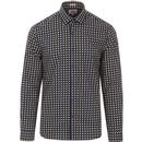 ben sherman mens retro contrast geo square print long sleeve soho slim fit shirt dark blue
