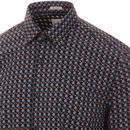 BEN SHERMAN Mens Retro 60s Geo Square Print Shirt