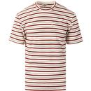 ben sherman mens 60s retro horizonatl stripe chest pocket crew neck tshirt ecru red black