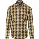ben sherman mens retro mod textured check regular fit long sleeve shirt tan yellow