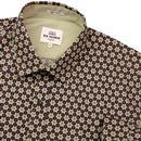 BEN SHERMAN Retro Mod Wallpaper Print Shirt BEIGE