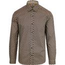 ben sherman retro wallpaper shirt beige