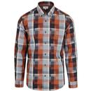 ben sherman blocked check shirt orange navy