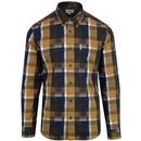 ben sherman blocked check shirt yellow navy