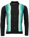 blake cardigan black teal mens mod