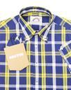 BRUTUS TRIMFIT Mod Check Short Sleeve Shirt BLUE
