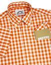 BRUTUS TRIMFIT Mens Mod Gingham Check Shirt ORANGE