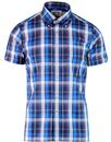 brutus trimfit madras check short sleeve shirt blu