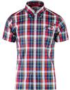 brutus trimfit madras check short sleeve shirt red
