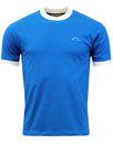 brutus mens retro 70s mod ringer t-shirt blue