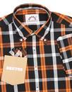 BRUTUS TRIMFIT Mod Check Short Sleeve Shirt ORANGE