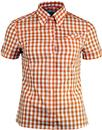 brutus trimfit womens mod gingham shirt orange