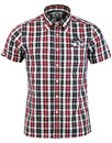brutus trimfit 70s mod graph check shirt burgundy