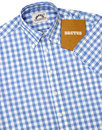 BRUTUS TRIMFIT Mod Large Gingham Check Shirt SKY