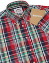 BRUTUS TRIMFIT Retro Mod Madras Check Shirt RED