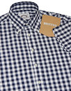 BRUTUS TRIMFIT Mod Large Gingham Check Shirt NAVY