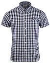 brutus trimfit mod large gingham check shirt navy