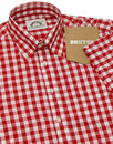 BRUTUS TRIMFIT Mod Large Gingham Check Shirt RED