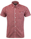 brutus trimfit mod red large gingham check shirt