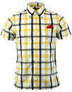 brutus trimfit mod yellow black windowpane shirt