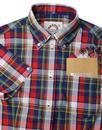 BRUTUS TRIMFIT Womens Mod Madras Check Shirt (Red)