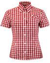 brutus trimfit womens retro mod red gingham shirt