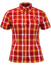brutus trimfit womens mod tartan check shirt red