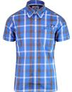 brutus trimfit window pane check shirt blue/brown