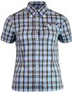 brutus trimfit womens retro mod tartan shirt blue