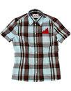 BRUTUS TRIMFIT Womens Claret & Sky Tartan Shirt