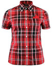 brutus trimfit womens heritage red tartan shirt