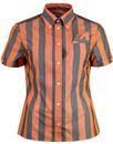 Brutus trimfit women's bold stripe shirt orange