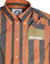 BRUTUS TRIMFIT Womens Mod Bold Stripe Shirt ORANGE