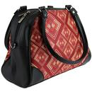 Abstract Rhombus CHENASKI Retro Print Handbag Rust