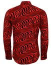Heatwave CHENASKI Retro 70s Op Art Wave Shirt RED