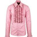 chenaski ruche frill tuxedo shirt rose pink