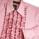 CHENASKI Ruche Frill Retro 1970s Tuxedo Shirt (OR)