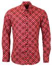 CHENASKI RETRO 70S MOD SHIRTS DOTSGRID RED